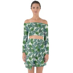 Leaves Tropical Wallpaper Foliage Off Shoulder Top with Skirt Set