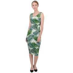Leaves Tropical Wallpaper Foliage Sleeveless Pencil Dress