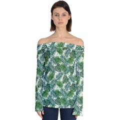 Leaves Tropical Wallpaper Foliage Off Shoulder Long Sleeve Top