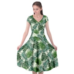 Leaves Tropical Wallpaper Foliage Cap Sleeve Wrap Front Dress