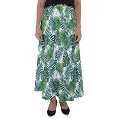Leaves Tropical Wallpaper Foliage Flared Maxi Skirt
