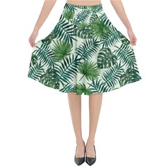 Leaves Tropical Wallpaper Foliage Flared Midi Skirt
