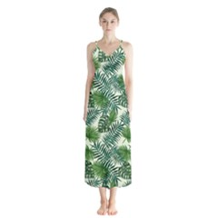 Leaves Tropical Wallpaper Foliage Button Up Chiffon Maxi Dress