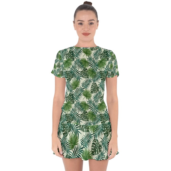 Leaves Tropical Wallpaper Foliage Drop Hem Mini Chiffon Dress