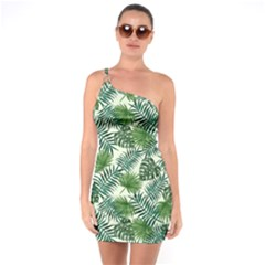 Leaves Tropical Wallpaper Foliage One Soulder Bodycon Dress
