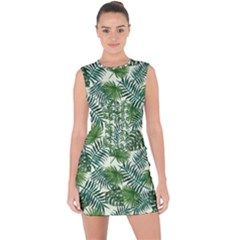 Leaves Tropical Wallpaper Foliage Lace Up Front Bodycon Dress