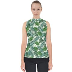 Leaves Tropical Wallpaper Foliage Mock Neck Shell Top