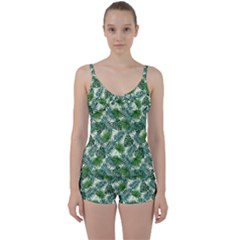 Leaves Tropical Wallpaper Foliage Tie Front Two Piece Tankini