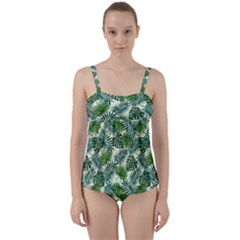 Leaves Tropical Wallpaper Foliage Twist Front Tankini Set