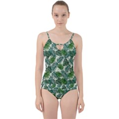 Leaves Tropical Wallpaper Foliage Cut Out Top Tankini Set