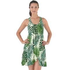 Leaves Tropical Wallpaper Foliage Show Some Back Chiffon Dress