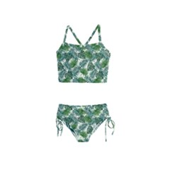 Leaves Tropical Wallpaper Foliage Girls  Tankini Swimsuit