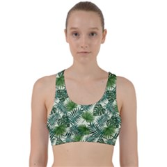 Leaves Tropical Wallpaper Foliage Back Weave Sports Bra