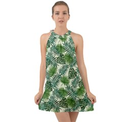 Leaves Tropical Wallpaper Foliage Halter Tie Back Chiffon Dress
