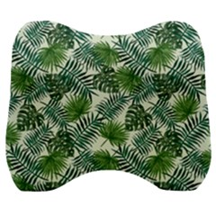 Leaves Tropical Wallpaper Foliage Velour Head Support Cushion