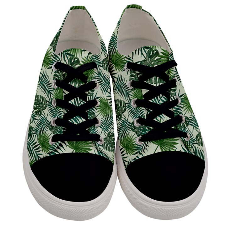 Leaves Tropical Wallpaper Foliage Men s Low Top Canvas Sneakers
