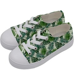 Leaves Tropical Wallpaper Foliage Kids  Low Top Canvas Sneakers