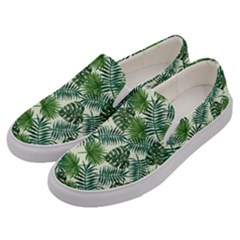 Leaves Tropical Wallpaper Foliage Men s Canvas Slip Ons