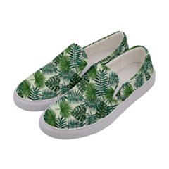 Leaves Tropical Wallpaper Foliage Women s Canvas Slip Ons