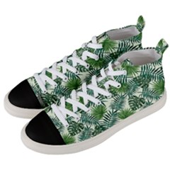 Leaves Tropical Wallpaper Foliage Men s Mid-Top Canvas Sneakers