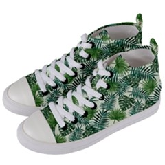 Leaves Tropical Wallpaper Foliage Women s Mid-Top Canvas Sneakers