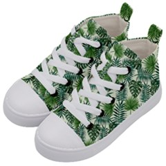 Leaves Tropical Wallpaper Foliage Kids  Mid-Top Canvas Sneakers