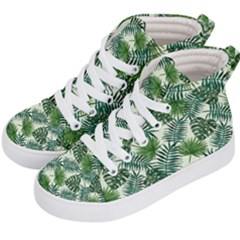 Leaves Tropical Wallpaper Foliage Kids  Hi Top Skate Sneakers by Pakrebo