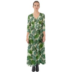 Leaves Tropical Wallpaper Foliage Button Up Boho Maxi Dress