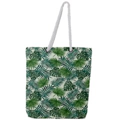 Leaves Tropical Wallpaper Foliage Full Print Rope Handle Tote (Large)