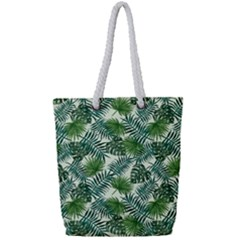 Leaves Tropical Wallpaper Foliage Full Print Rope Handle Tote (Small)