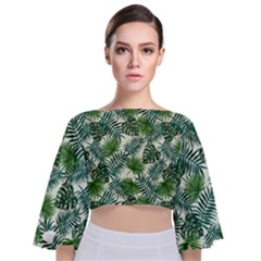 Leaves Tropical Wallpaper Foliage Tie Back Butterfly Sleeve Chiffon Top