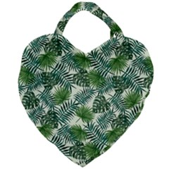 Leaves Tropical Wallpaper Foliage Giant Heart Shaped Tote