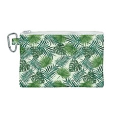 Leaves Tropical Wallpaper Foliage Canvas Cosmetic Bag (Medium)
