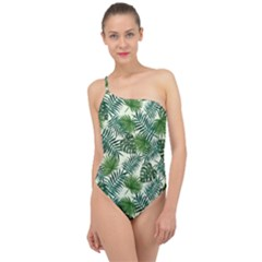 Leaves Tropical Wallpaper Foliage Classic One Shoulder Swimsuit