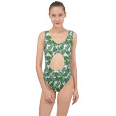 Leaves Tropical Wallpaper Foliage Center Cut Out Swimsuit