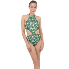 Leaves Tropical Wallpaper Foliage Halter Side Cut Swimsuit