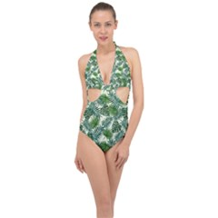 Leaves Tropical Wallpaper Foliage Halter Front Plunge Swimsuit