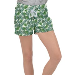Leaves Tropical Wallpaper Foliage Women s Velour Lounge Shorts