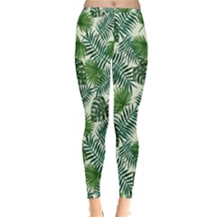 Leaves Tropical Wallpaper Foliage Inside Out Leggings