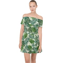 Leaves Tropical Wallpaper Foliage Off Shoulder Chiffon Dress