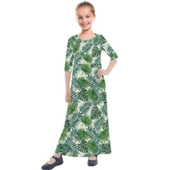 Leaves Tropical Wallpaper Foliage Kids  Quarter Sleeve Maxi Dress