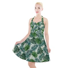 Leaves Tropical Wallpaper Foliage Halter Party Swing Dress