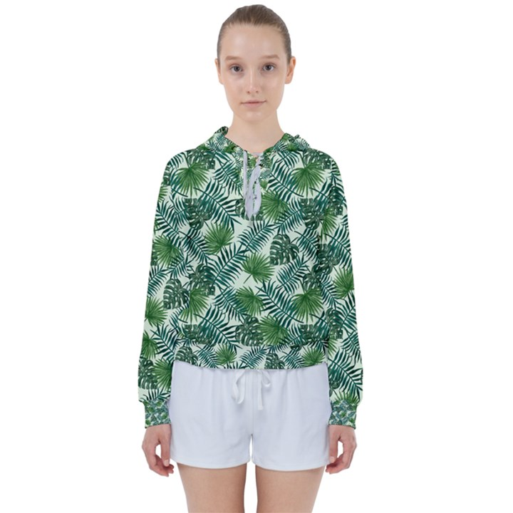 Leaves Tropical Wallpaper Foliage Women s Tie Up Sweat