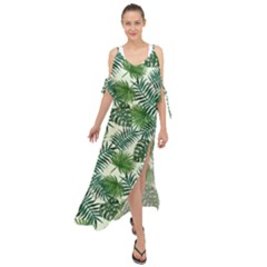 Leaves Tropical Wallpaper Foliage Maxi Chiffon Cover Up Dress