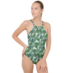 Leaves Tropical Wallpaper Foliage High Neck One Piece Swimsuit
