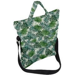 Leaves Tropical Wallpaper Foliage Fold Over Handle Tote Bag