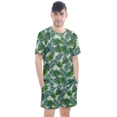 Leaves Tropical Wallpaper Foliage Men s Mesh Tee and Shorts Set
