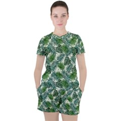 Leaves Tropical Wallpaper Foliage Women s Tee And Shorts Set by Pakrebo