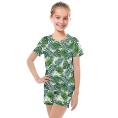 Leaves Tropical Wallpaper Foliage Kids  Mesh Tee and Shorts Set