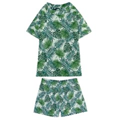 Leaves Tropical Wallpaper Foliage Kids  Swim Tee and Shorts Set